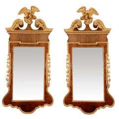 Rare Pair of George II Scroll Top Mirrors