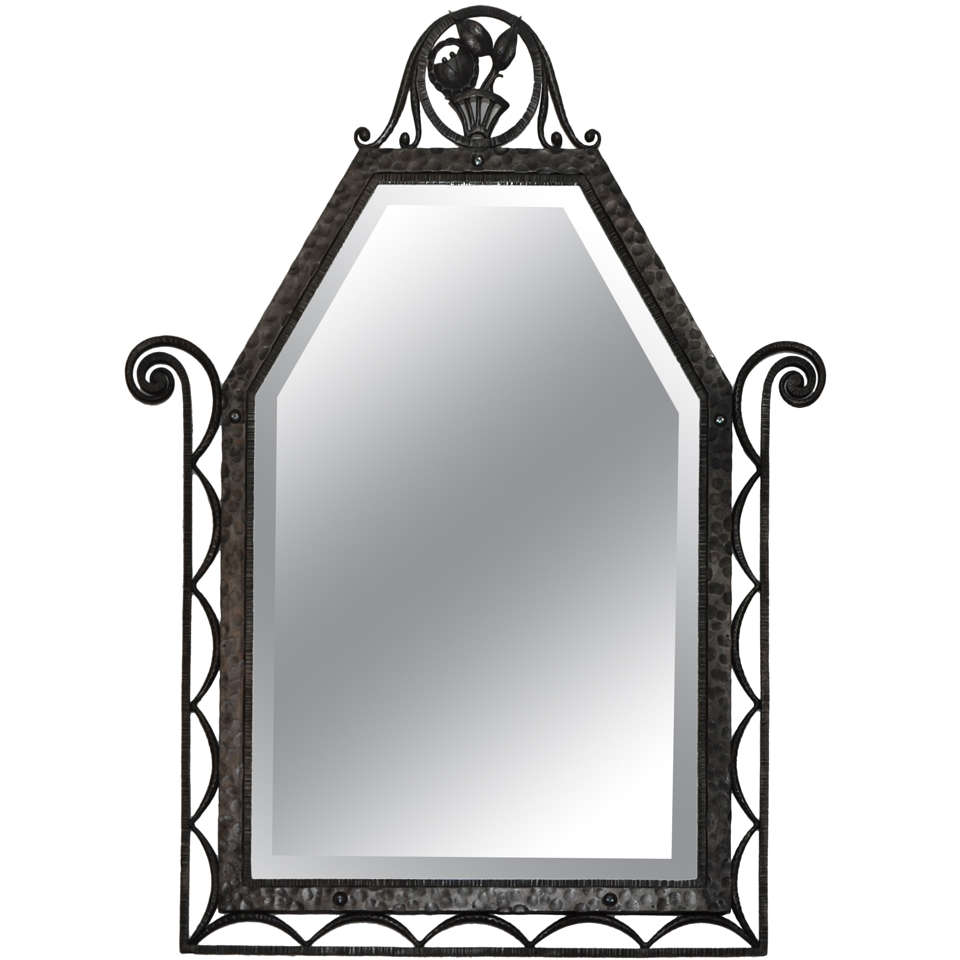 Mirror in wrought iron by charles piguet at 1stdibs for Wrought iron mirror