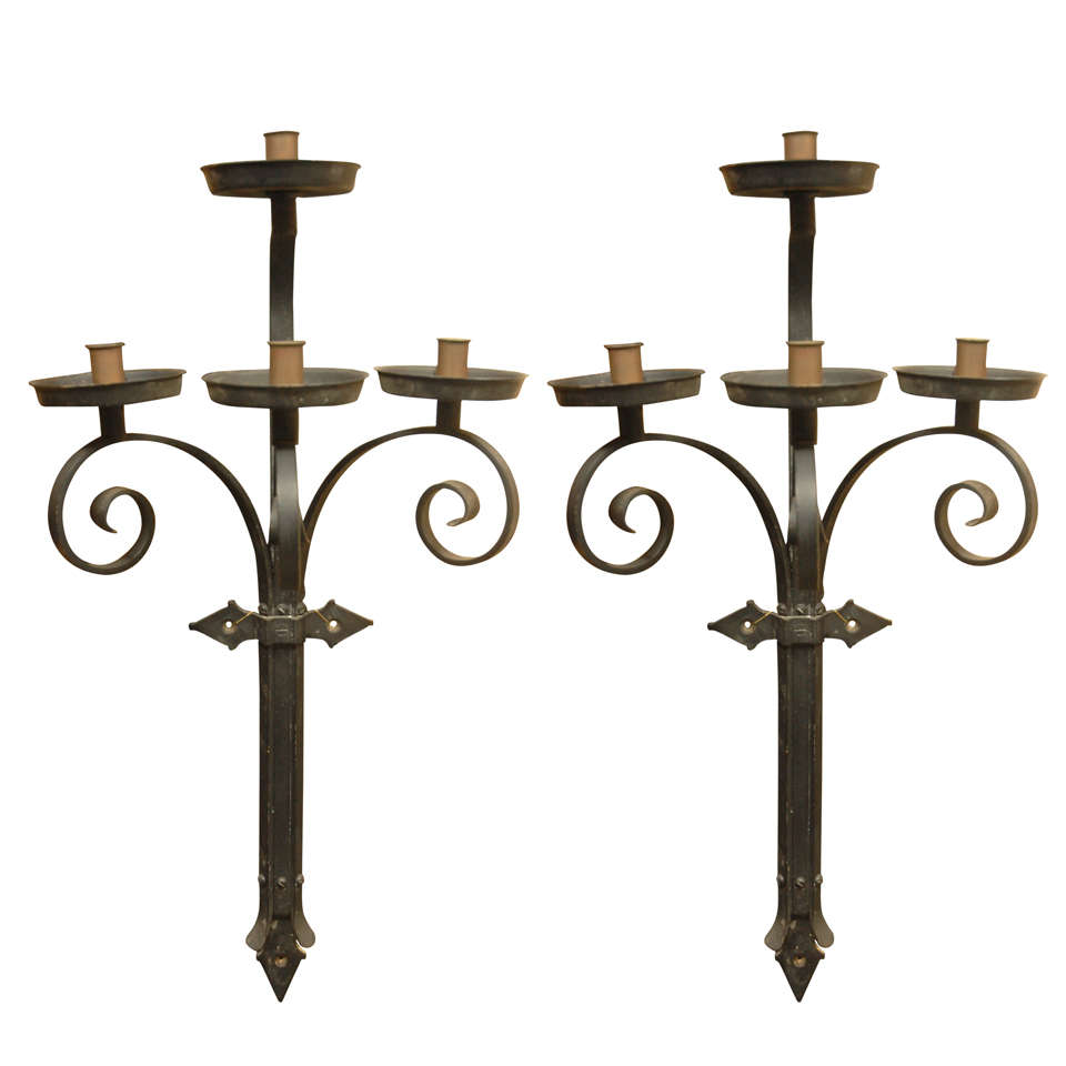 French Iron Wall Sconces : Pair Of French Iron Wall Sconces. For Sale at 1stdibs