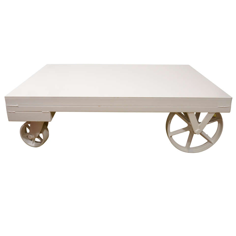 Coffee table home collections furniture tables bedford coffee table - American Industrial Rolling Table Cart At 1stdibs