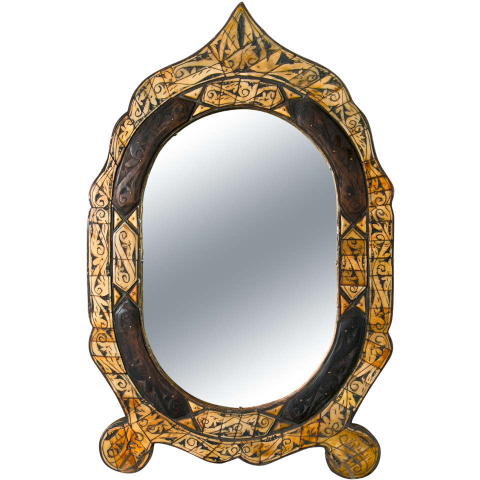 Bone And Wood  Folk Art Mirror
