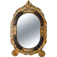 Bone And Wood  Folk Art Mirror