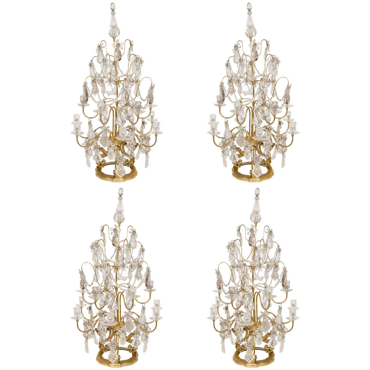 Set of French Louis XVI Style Gilt Bronze and Cut Rock Crystal Candelabra Lamps