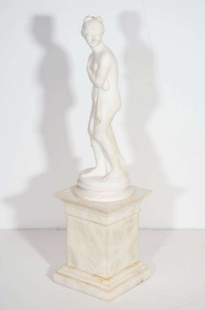20th Century Pair of Antique Italian Neoclassical Alabaster Figures on Bases For Sale