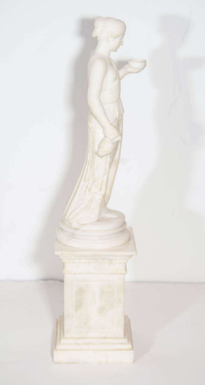 Pair of Antique Italian Neoclassical Alabaster Figures on Bases For Sale 1