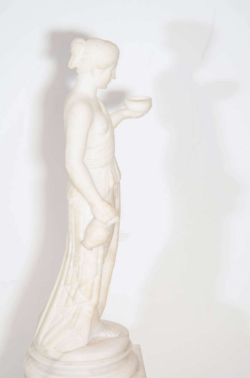 Pair of Antique Italian Neoclassical Alabaster Figures on Bases For Sale 2