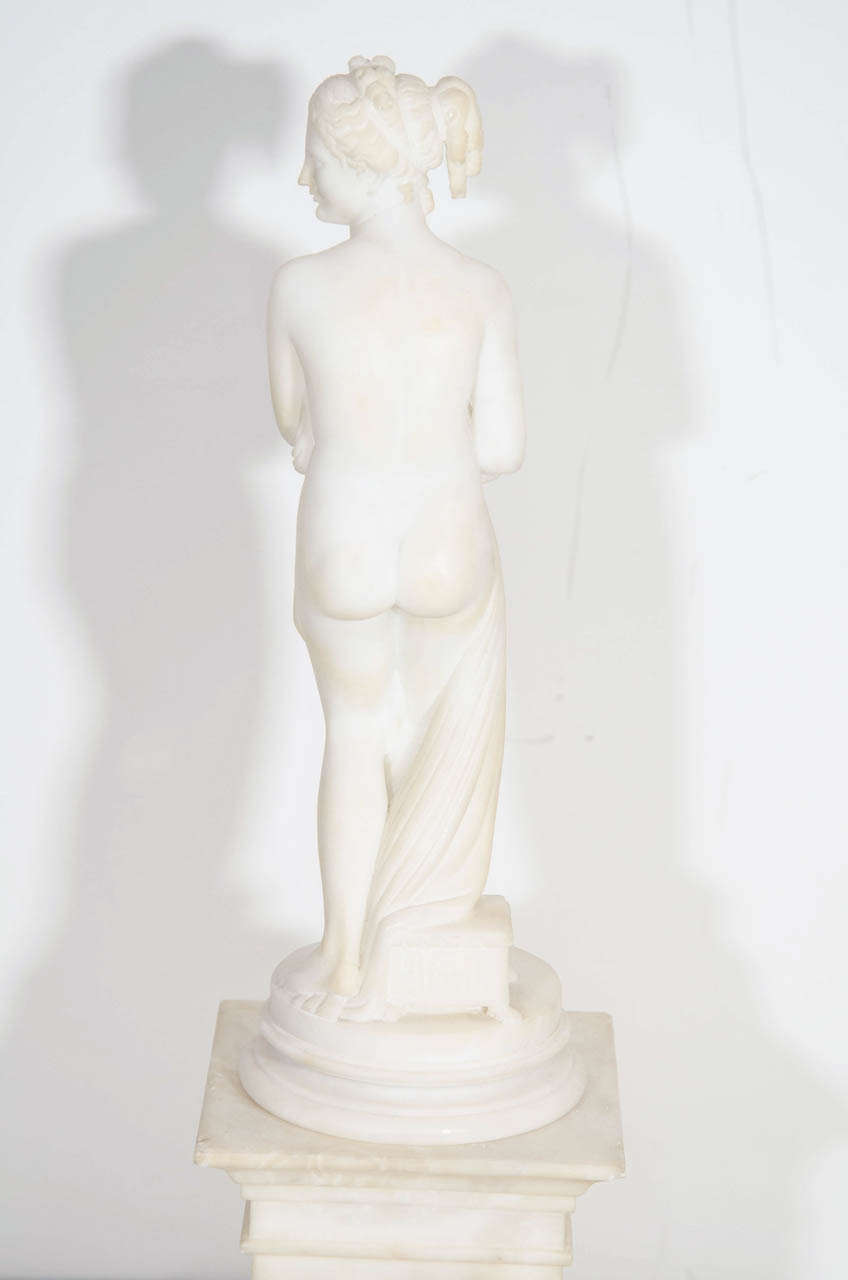 Pair of Antique Italian Neoclassical Alabaster Figures on Bases For Sale 3