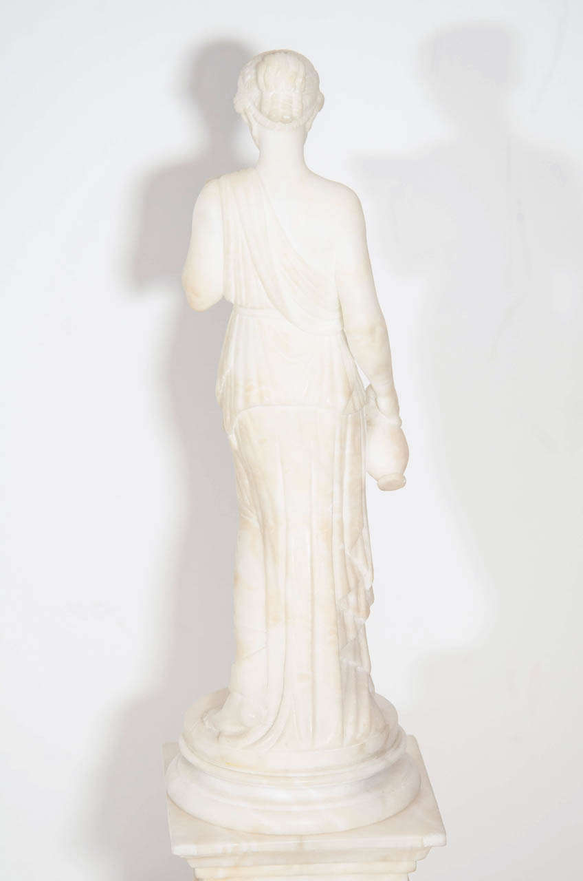 Pair of Antique Italian Neoclassical Alabaster Figures on Bases For Sale 4
