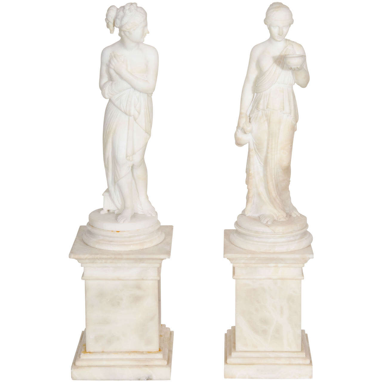 Pair of Antique Italian Neoclassical Alabaster Figures on Bases For Sale
