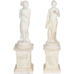 Pair of Antique Italian Neoclassical Alabaster Figures on Bases