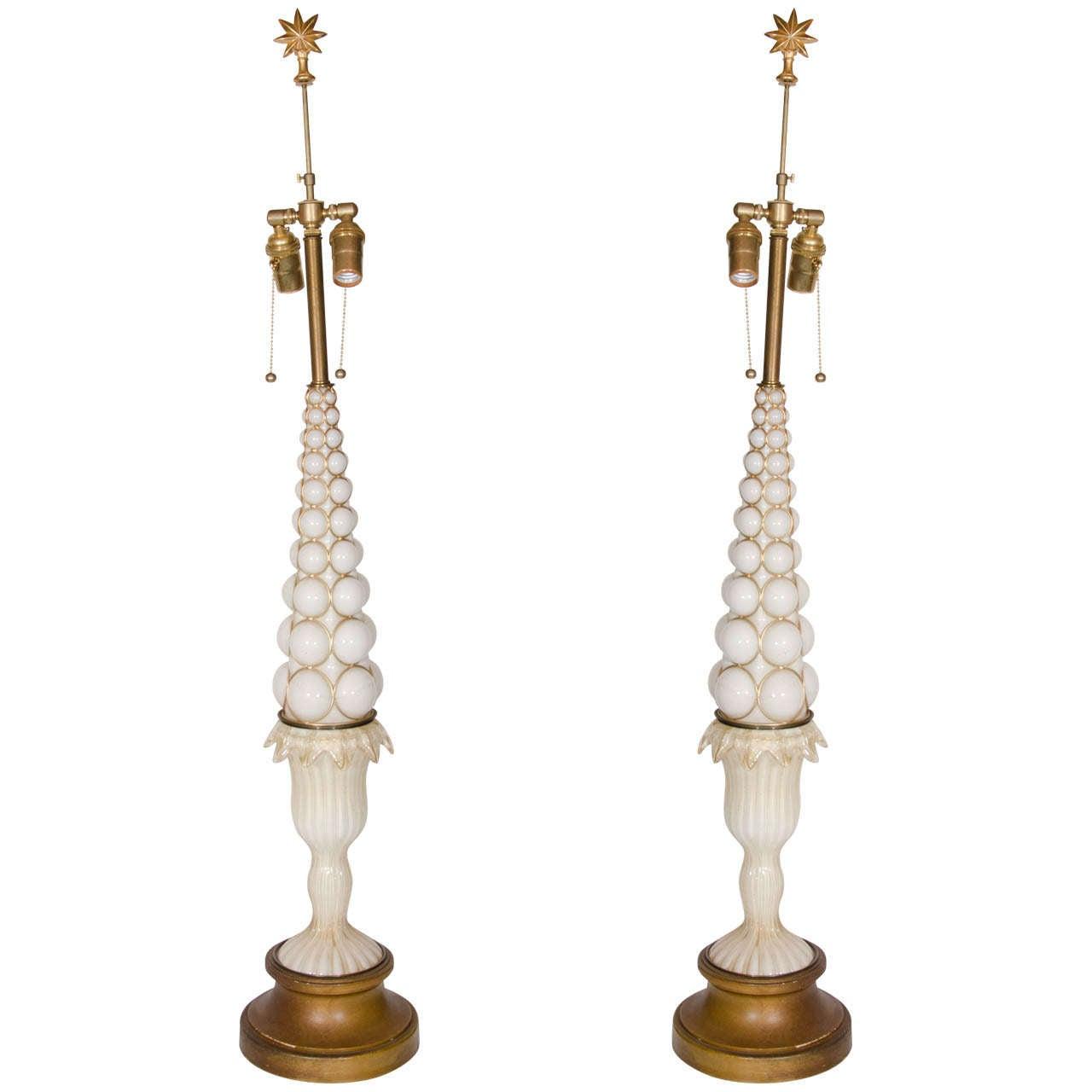 Pair of Antique Italian Art Deco Murano Gold and Cream Glass Lamps, circa 1940