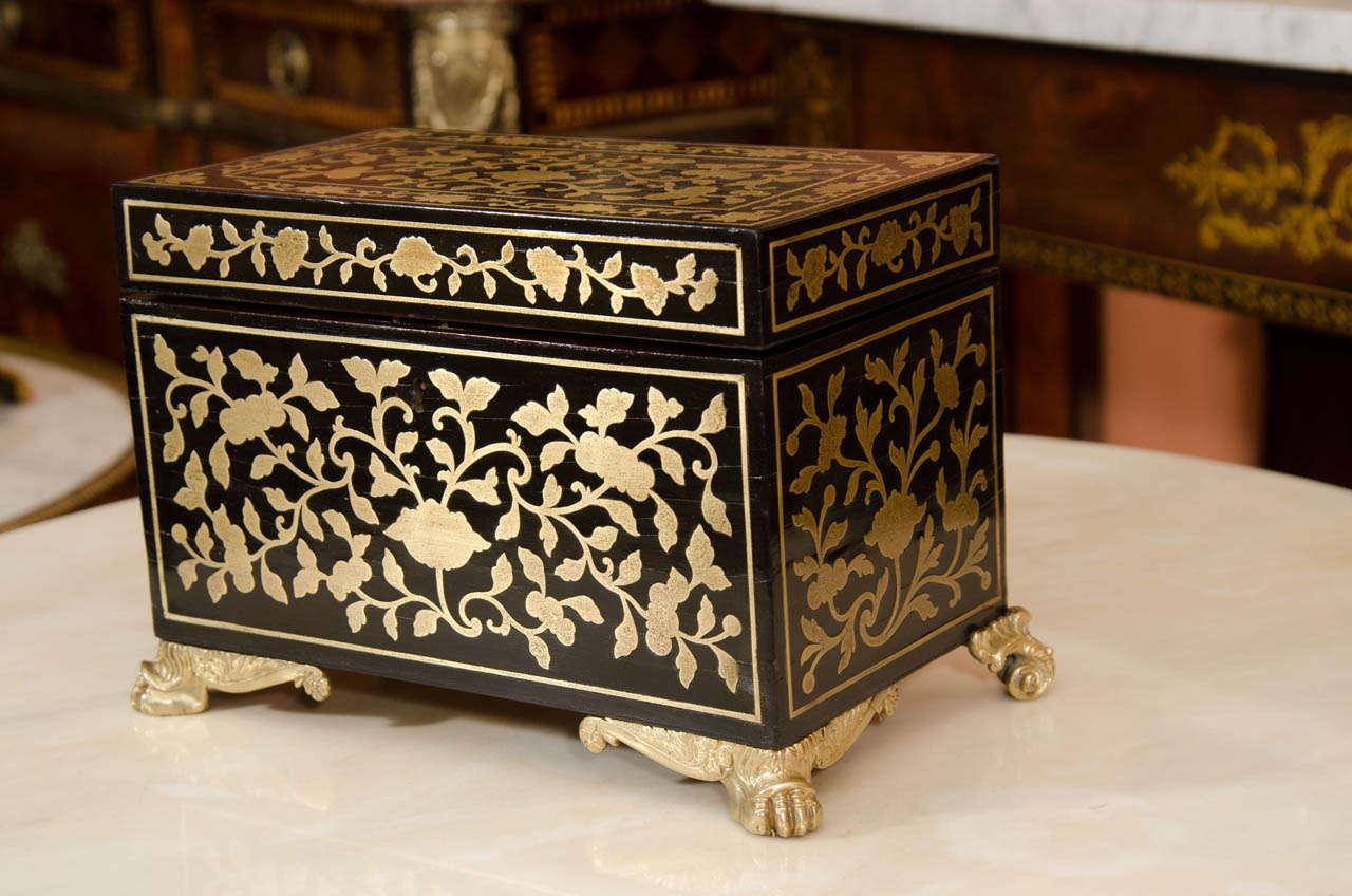 English Fine Regency Brass Inlaid Tea Caddy For Sale