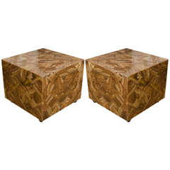 Pair of Onyx Cube Form Side Tables