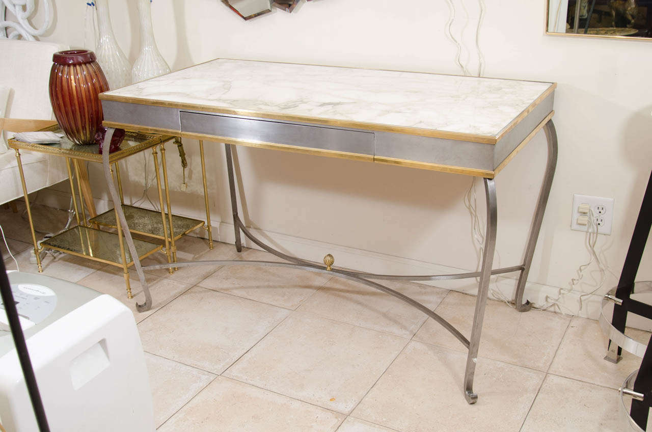 Amazing photo of Stainless Steel And Brass Cabriole Desk With Marble Top at 1stdibs with #66432A color and 1280x848 pixels