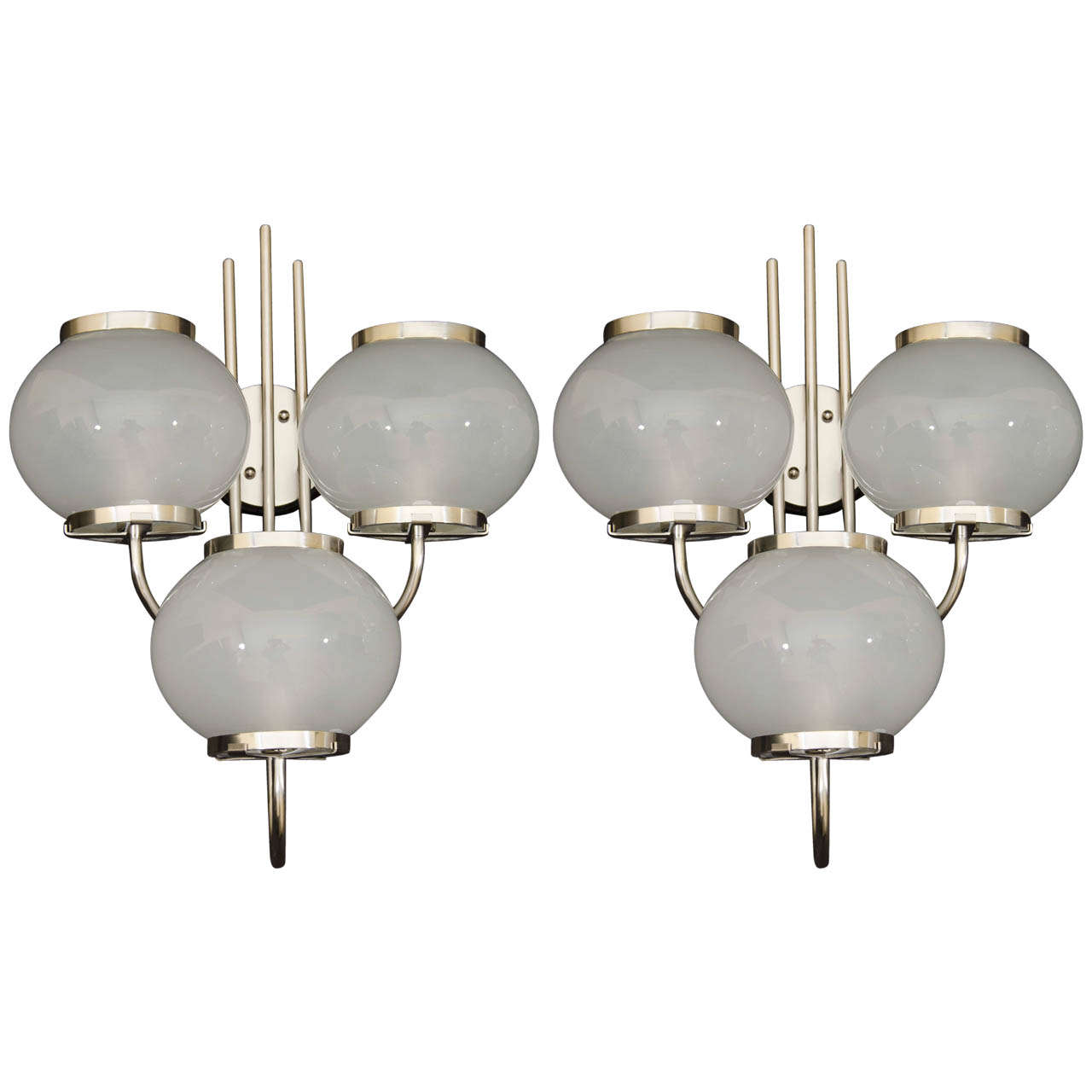 Mid Century Three Light Frosted Glass And Chrome Sconces at 1stdibs