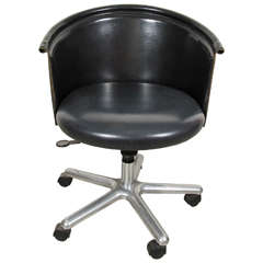 Zanotta Leather Bucket Desk Chair