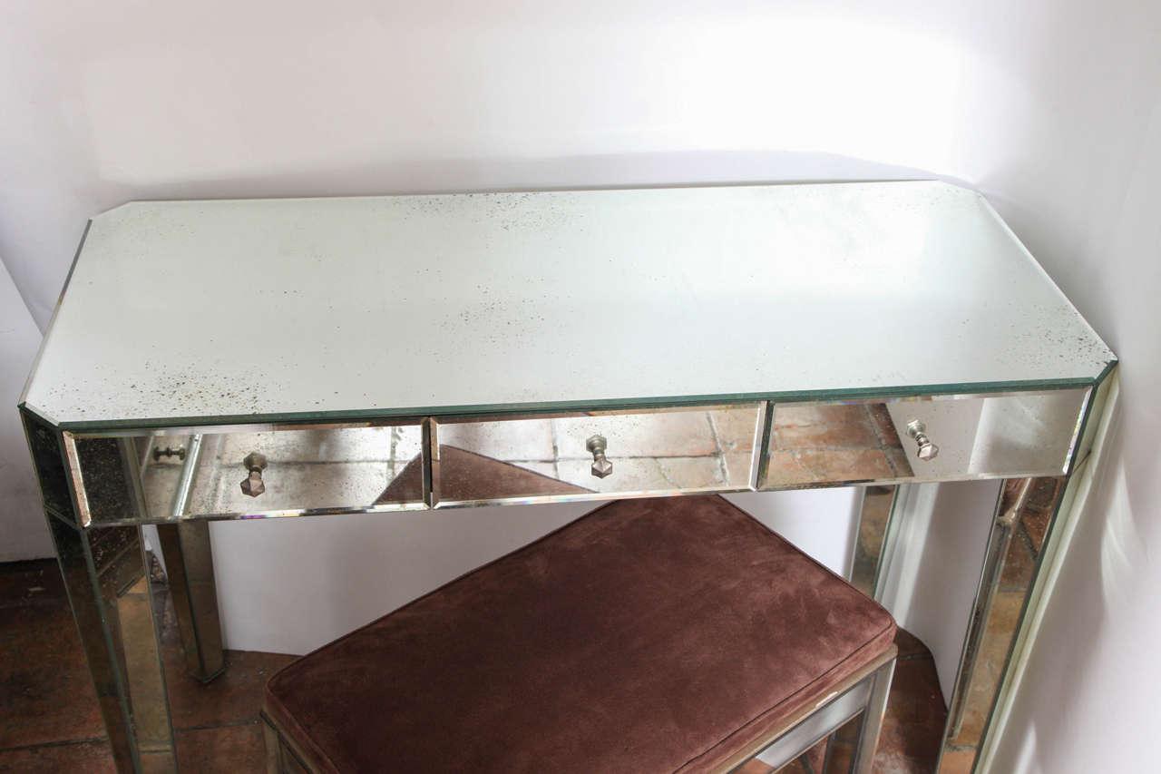 Mirrored Modernist Vanity Or Desk At 1stdibs