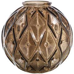 Large Art Deco Impressed Diamond Glass Vase