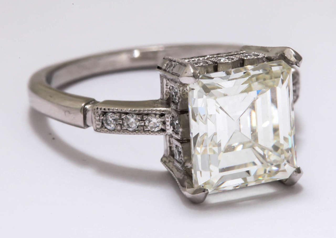 Vintage Asscher or Emerald Cut 3 5 Carat Diamond Platinum Engagement Ring For