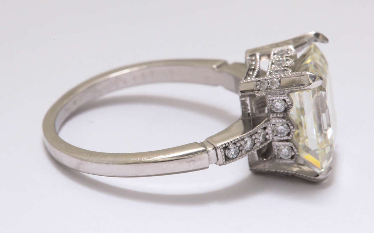 Art Deco Vintage Cher Or Emerald Cut 3 5 Carat Diamond Platinum Engagement Ring For