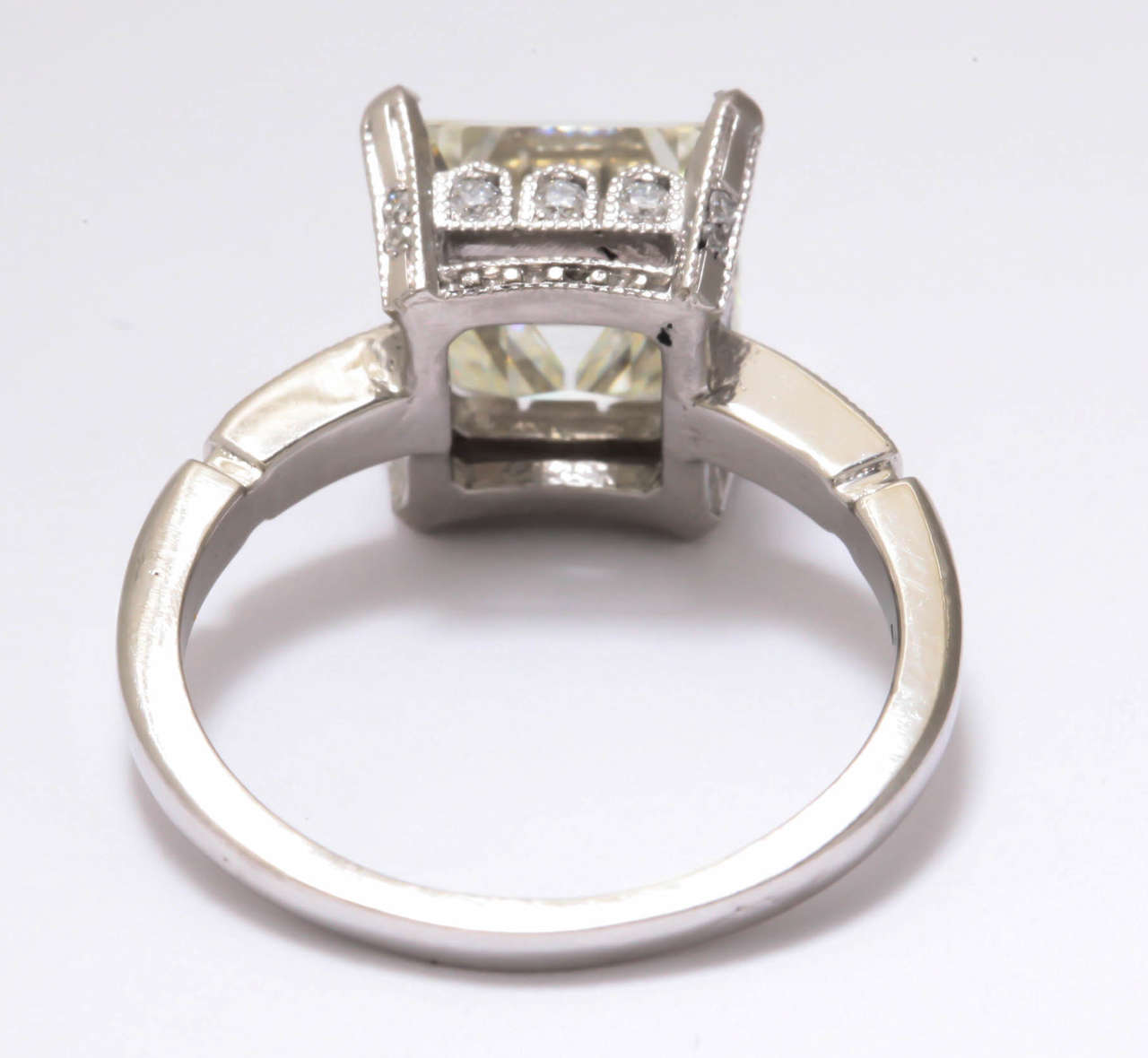 Vintage Asscher or Emerald Cut 3 5 Carat Diamond Platinum Engagement Ring For