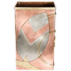Rare Custom-Made Original Art Deco Waste Can in Copper, Brass, and Nickel