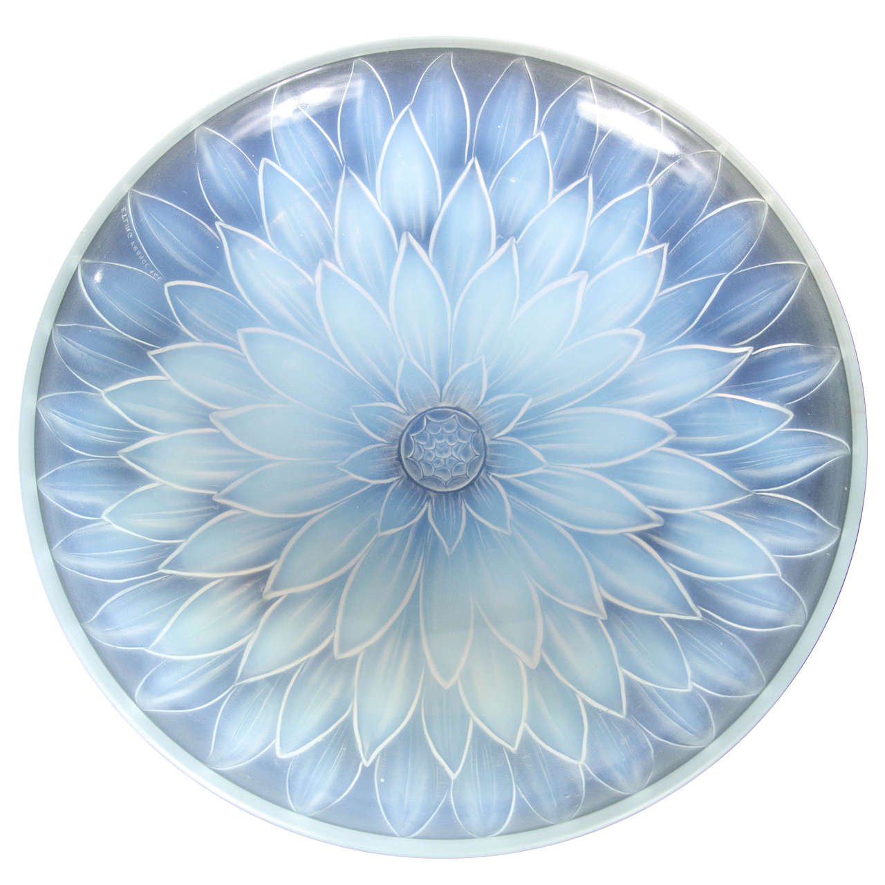 Stunning Art Deco Relief Glass Bowl by Etling at 1stdibs