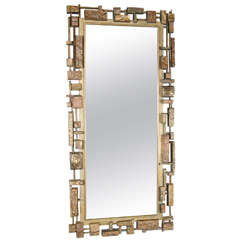 Mid-Centuy Modernist 'Syroco' Brutalist Mirror with Gilt Detailing