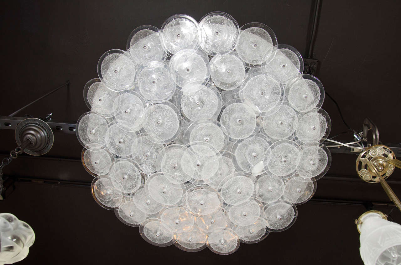 Mid Century Modern Flush Mount Chandelier With Handn Murano Clear Glass Discs This