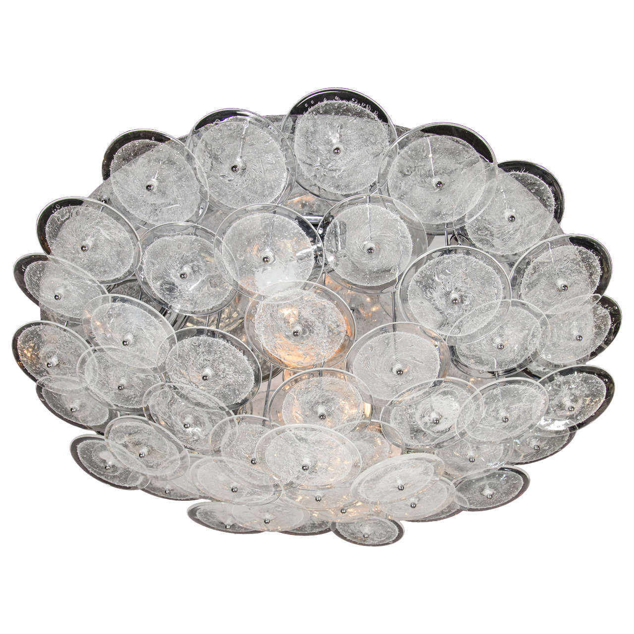 midcentury modern flush mount chandelier with handblown murano glass discs. midcentury modern flush mount chandelier with handblown murano