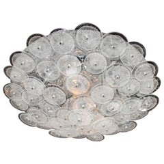 Modernist Chrome Flush Mount Chandelier w/ Handblown Murano Glass Discs