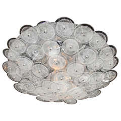 Mid-Century Modern Flush Mount Chandelier with Handblown Murano Glass Discs