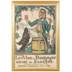 "1916 French Wine Poster,""Les Vins de Bourgogne"" by Guy Arnoux"