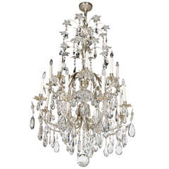 Hollywood Regency Style Silvered Bronze & Cut Crystal Chandelier