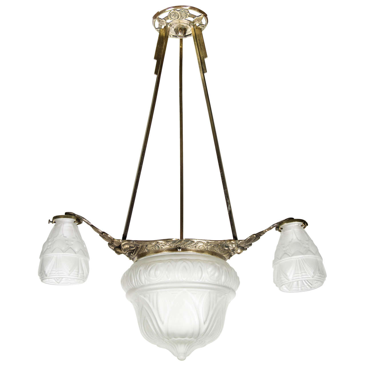 Art Deco Four-Globe Frosted Relief Glass Chandelier in Silvered Bronze