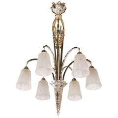 Art Deco Nickeled Bronze & Frosted Glass Six-Arm Chandelier by Muller Frères