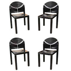 Pair of Black Lacquered Modernist Plywood Chairs
