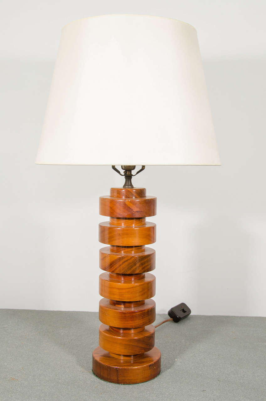 pair of mid century stacked wood table lamps at 1stdibs. Black Bedroom Furniture Sets. Home Design Ideas