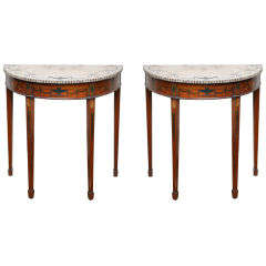 Pair of Rare Sheraton Style Demilune Tables