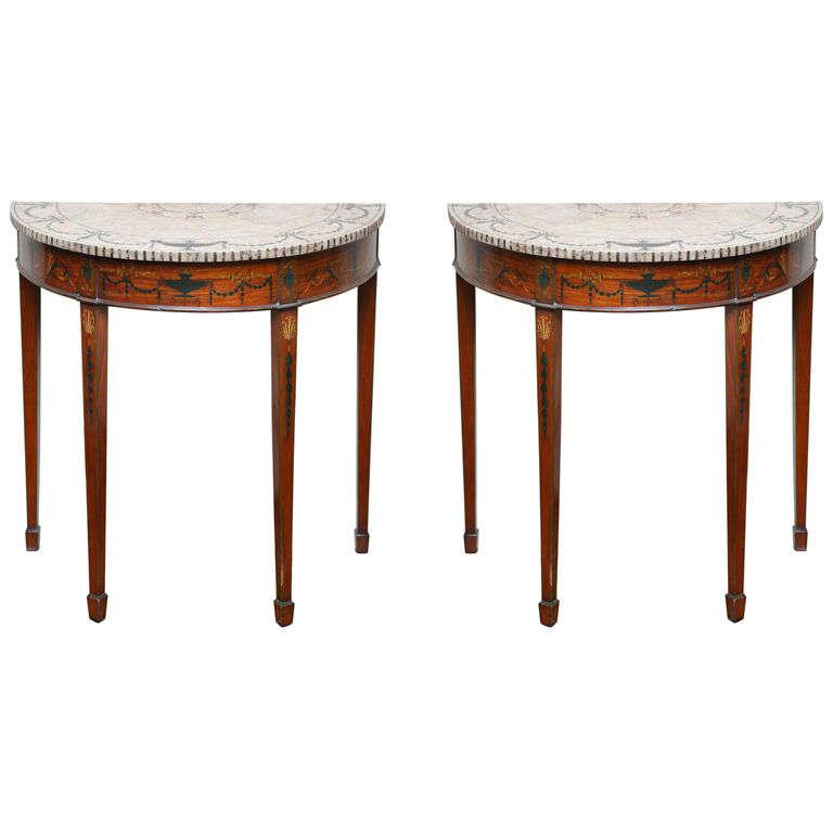 Pair of Rare Sheraton Style Demilune Tables
