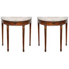 Pair of Edwardian Sheraton Revival Pietra Dura Marble Demilune Tables, England