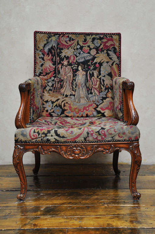 Neoclassical Pair of Transitional Style French Petit and Gros Point Needlepoint Bergères For Sale
