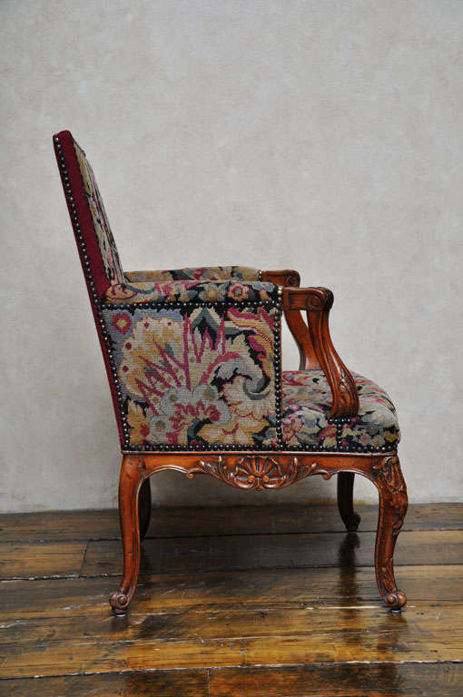 Hand-Carved Pair of Transitional Style French Petit and Gros Point Needlepoint Bergères For Sale