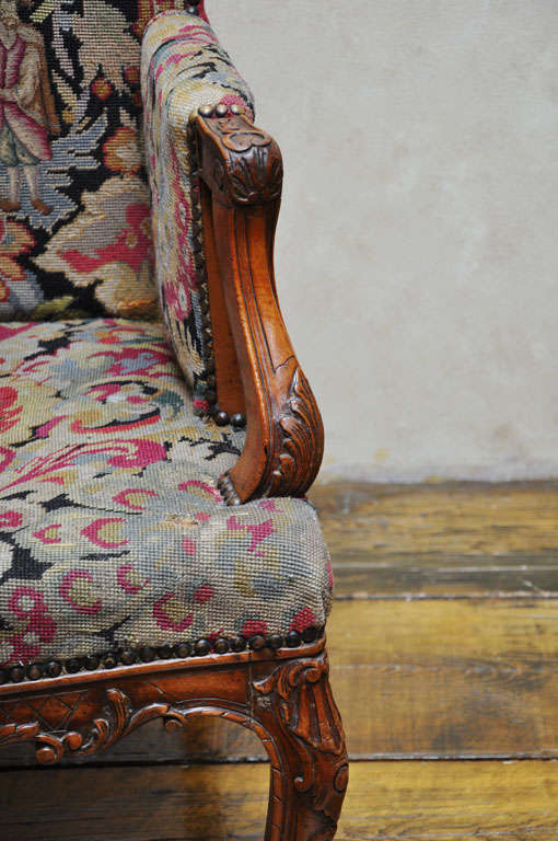 Tapestry Pair of Transitional Style French Petit and Gros Point Needlepoint Bergères For Sale