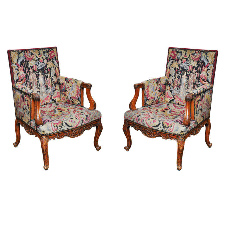 Pair of Transitional Style French Petit and Gros Point Needlepoint Bergères