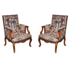 Pair of Transitional Louis XV Louis XVI Needlepoint Bergères, France, 1880
