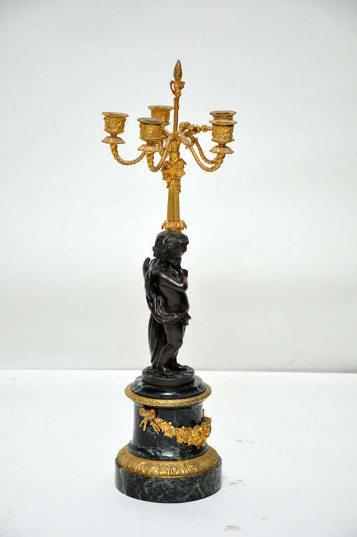 19th Century Pair of Patinated Bronze Putti Five-Light Candelabras, France, 1880 For Sale
