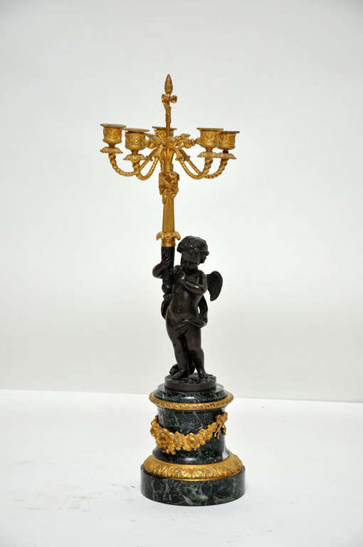 Pair of Patinated Bronze Putti Five-Light Candelabras, France, 1880 For Sale 2