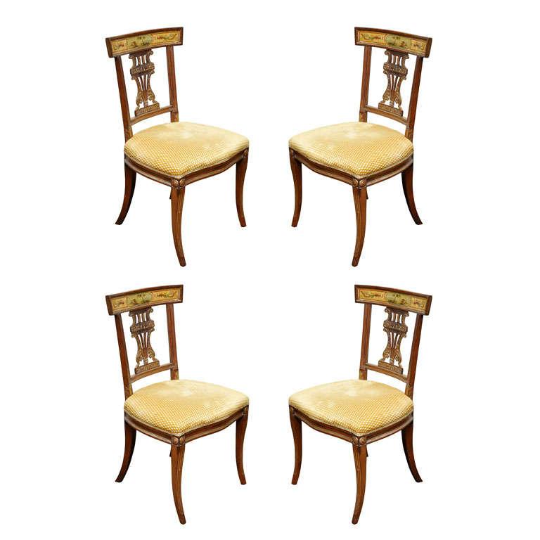 Set of Four Italian Empire Klismo Chairs