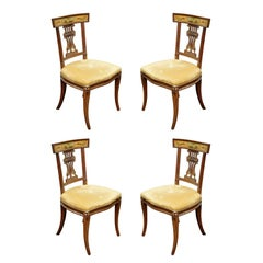 Set of Four Italian Empire Painted Klismo Side Chairs, Italy, 1890